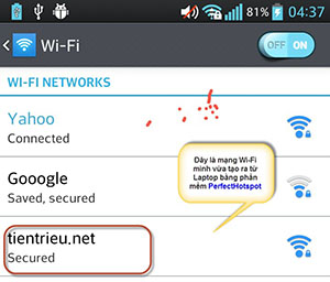 Phát Wi-Fi bằng laptop cho điện thoại